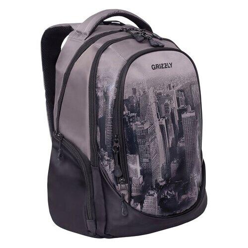 Купить Рюкзак GRIZZLY молодежный, 3 отделения, черный/серый, Megapolis , 44x28x23 см, RU-037-4/2, Рюкзаки, ранцы
