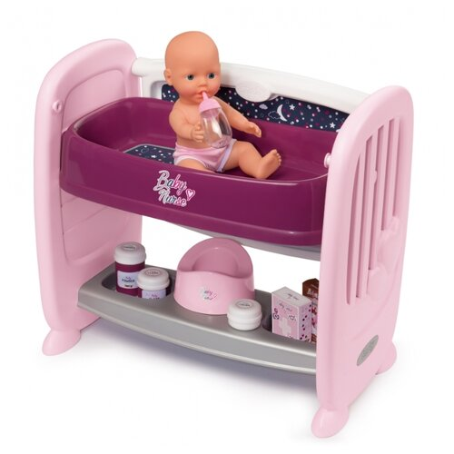 Кроватка для пупса Smoby 2 в 1, с регулируемой высотой Baby Nurse, 14 аксессуаров