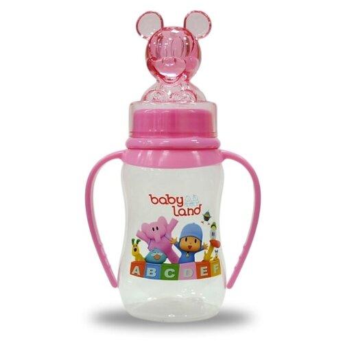 Купить Baby Land Бутылочка антиколиковая с ручками, колпачком-игрушкой, соска классическая, 150 мл с рождения, розовый, Бутылочки и ниблеры