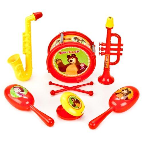 Купить Играем вместе набор инструментов Маша И Медведь B1582336-R красный/желтый, Детские музыкальные инструменты