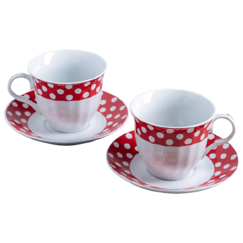 Фото - Доляна Набор чайных пар Горох 4 предмета 210 мл белый/красный рукавица доляна детишки 5148654 белый красный