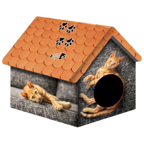 Домик для собак и кошек PerseiLine Рыжий кот 33х33х40 см серый/рыжий