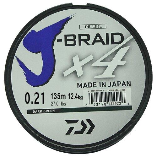 Плетеный шнур DAIWA J-Braid X4 dark green 0.21 мм 135 м 12.4 кг