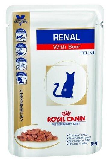 Корм для кошек Royal Canin Renal при проблемах с почками, с говядиной 12шт. х 85 г (кусочки в соусе) — цены на Яндекс.Маркете