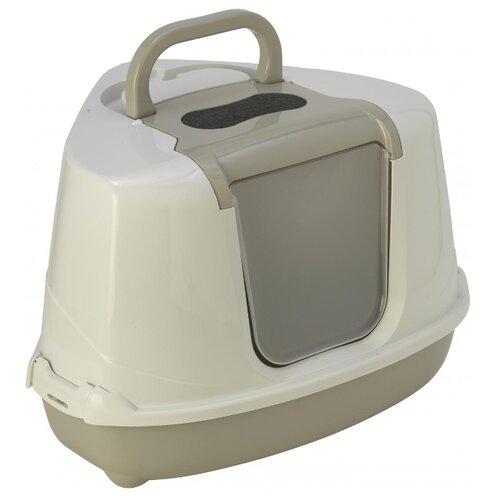 Туалет-домик для кошек Moderna Flip Corner 55.7х45.1х38.2 см теплый серый 1 шт.