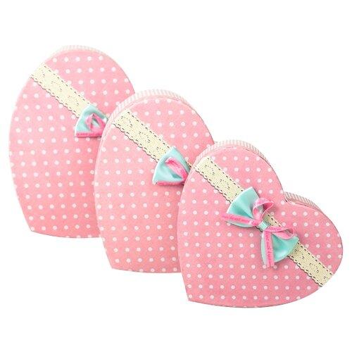 Набор подарочных коробок Yiwu Youda Import and Export Сердца, 3 шт розовый
