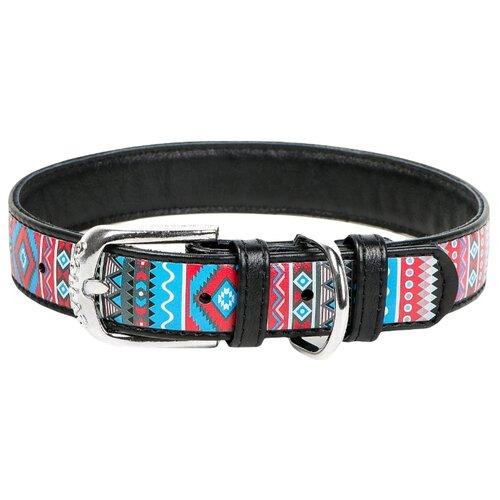 Ошейник WAU DOG Printed Leather 46-60 см этно/черный