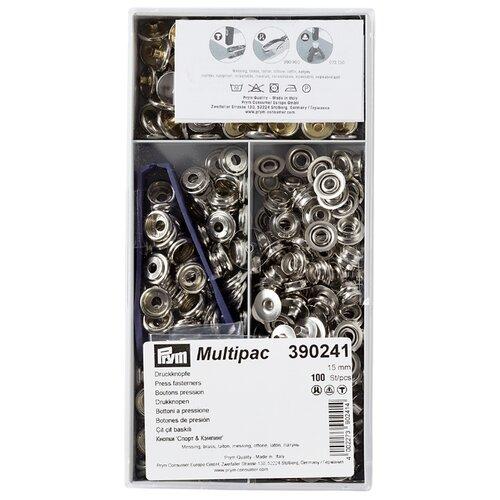 Prym Кнопки непришивные Спорт и кемпинг (390240, 390241), серебристый, 15 мм, 100 шт.