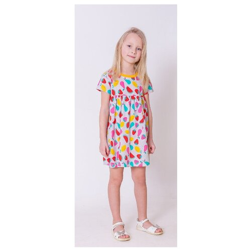 Платье Paprika размер 98-104, серый/красный/желтый