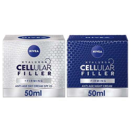 Nivea Hyaluron Cellular Filler Anti-age Day Cream SPF15 & Hyaluron Cellular Filler Anti-age Night Cream Дневной и ночной кремы для лица с гиалуроном, 50 мл крем nivea hyaluron cellular filler ночной 50 мл