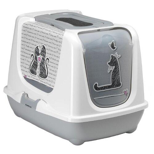 Туалет-домик для кошек Moderna Trendy Cat Cats In Love 57.4х44.8х42.7 см белый/серый