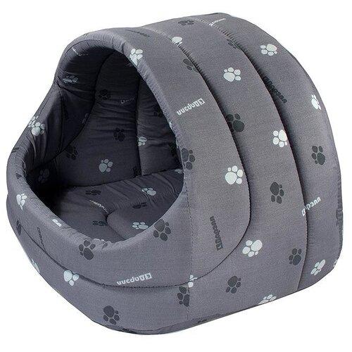 Домик для собак и кошек Дарэлл Лукошко 48х42х38 см серый