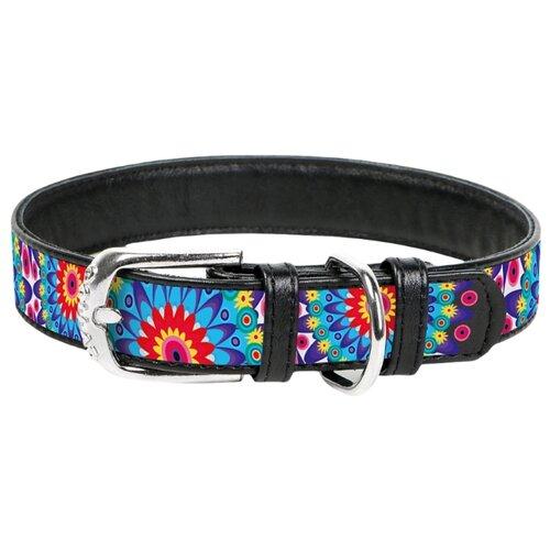 Ошейник WAU DOG Printed Leather 46-60 см цветы/черный