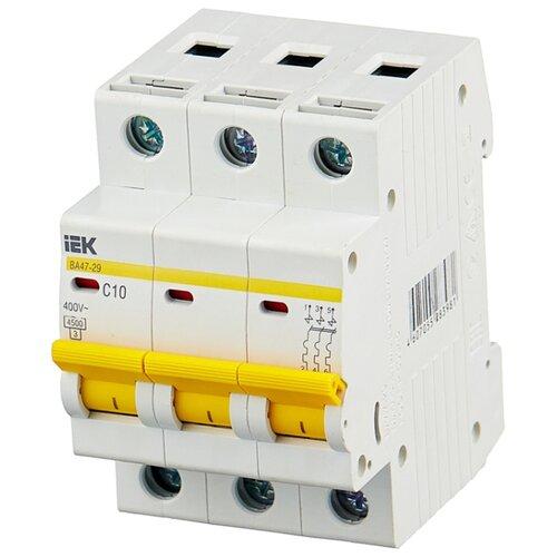 Автоматический выключатель IEK ВА 47-29 3P (C) 4,5kA 10 А автомат iek 3п c 40а ва 47 100
