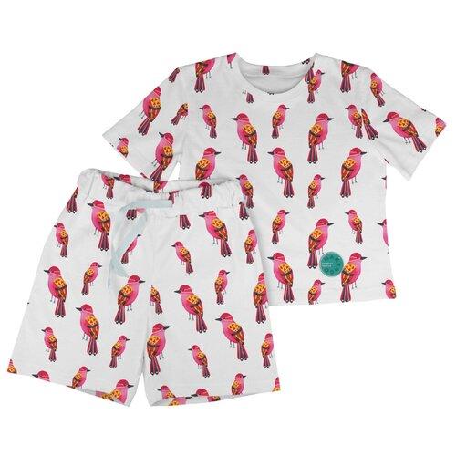 Купить Пижама Marengo Textile размер 122, белый/розовый, Домашняя одежда
