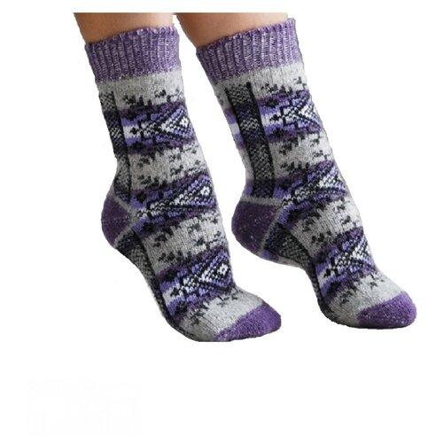 Носки шерстяные Бабушкины носки N6R191-2 сиреневый,серый_35-37
