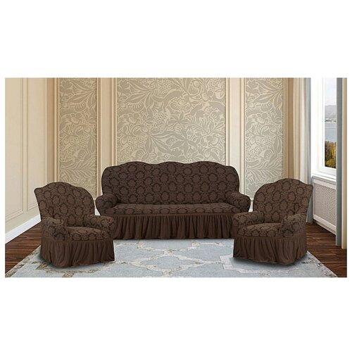 Комплект чехлов Жаккард на 3-х местный диван и 2 кресла, 514/311.007, Karteks