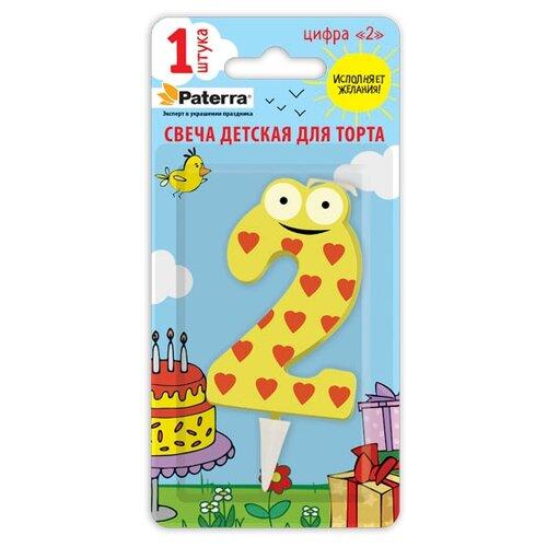 Paterra Свеча для торта Детская, цифра 2 желтый/красный