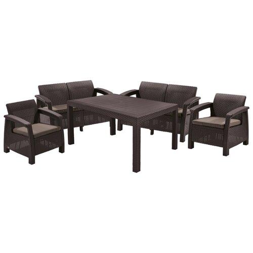 Комплект мебели KETER Corfu Fiesta Set (2 дивана, 2 кресла, стол), коричневый комплект плетеной мебели keter комплект moorea set unity
