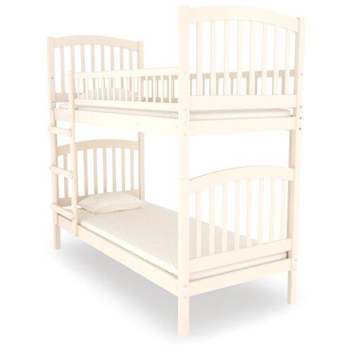 Двухъярусная кровать детская Nuovita Senso Due, размер (ДхШ): 198х93 см, спальное место (ДхШ): 190х80 см, каркас: массив дерева, цвет: avorio