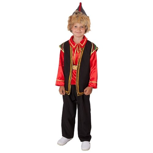 Купить Костюм ВИНИ Башкирский народный (мальчик), черный/красный, размер 128-134, Карнавальные костюмы