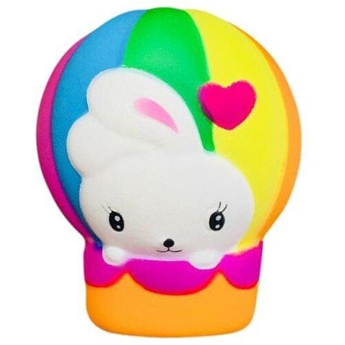 Игрушка-мялка 1 TOY Зайчик на воздушном шаре Т14692 белый/оранжевый/фиолетовый
