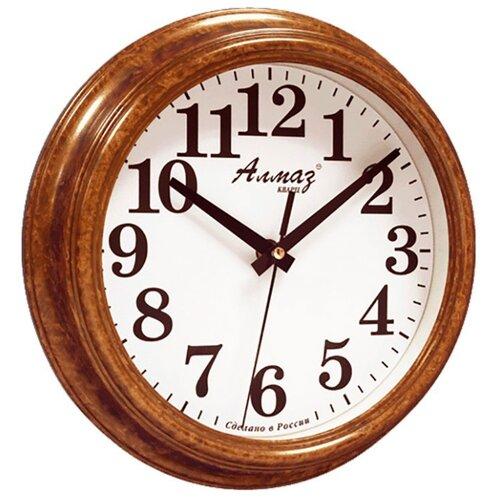 Часы настенные кварцевые Алмаз C55 коричневый/белый часы настенные кварцевые алмаз a58 коричневый белый