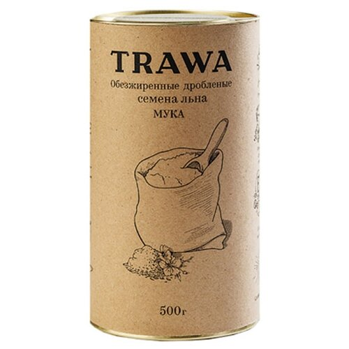 Мука Trawa из обезжиренных дробленых семян льна, 0.5 кгМука из других злаков<br>