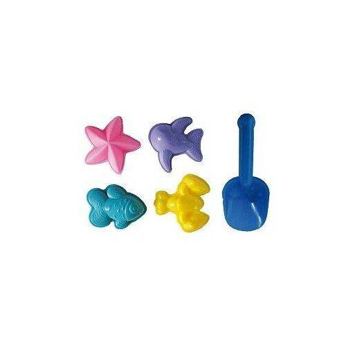 Купить Игра Стром Детский песочный набор 5 предметов (формы для песка «МОРЕ» 4шт., совок), синий, желтый, фиолетовый, розовый, голубой, СТРОМ, Наборы в песочницу