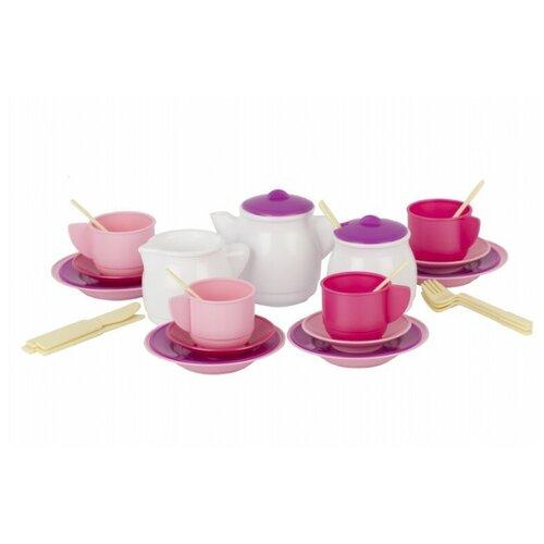 Игра Стром Детский кухонный набор «Чайный» в сумке ПВХ 35 предметов белый/розовый/фиолетовый недорого