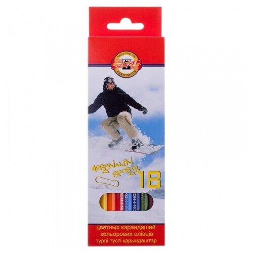 KOH-I-NOOR Карандаши цветные Спорт, 18 цветов (3553018007KSRU) карандаши цветные koh i noor birds 3553018001ksru шестигран 18цв коробка европод
