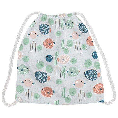 Купить JoyArty Рюкзак-мешок Улыбаки рыбки-ёжики (bpa_109065) белый/зеленый, Мешки для обуви и формы