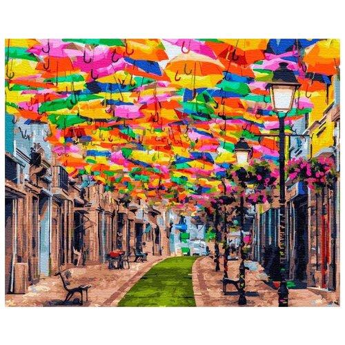 Купить Картина по номерам Улица зонтиков , 40x50 см, Цветной, Картины по номерам и контурам
