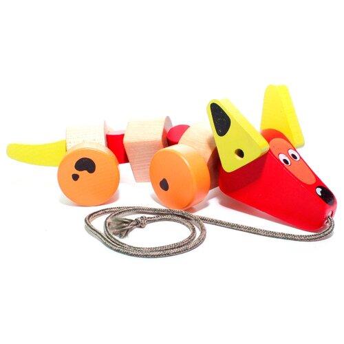 Купить Каталка-игрушка Cubika Такса (13623) красный/оранжевый, Каталки и качалки