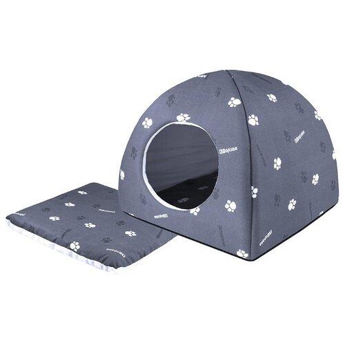 Домик для собак и кошек Дарэлл Юрта 42х42х41 см серый/светло-серый