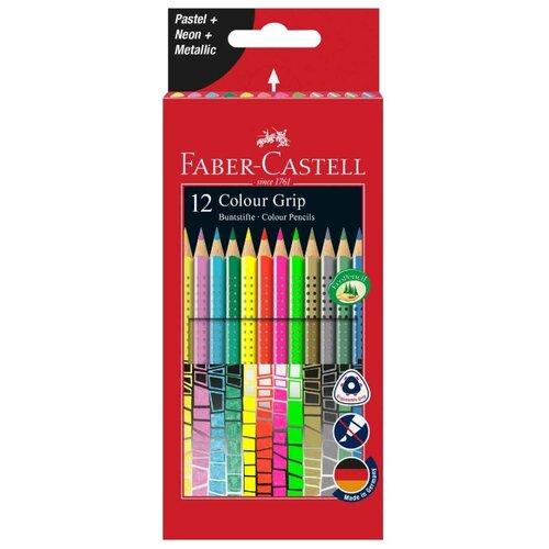 Faber-Castell Цветные карандаши Grip пастель/неон/металлик 12 цветов (201569) faber castell цветные карандаши faber castell jumbo grip metallic 5 цветов