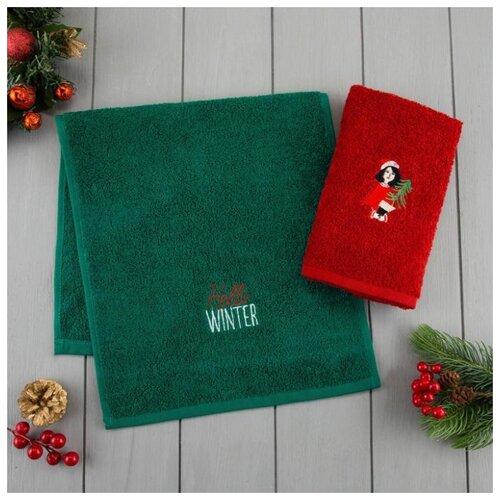 Этель набор полотенец Hello winter зеленый/красный