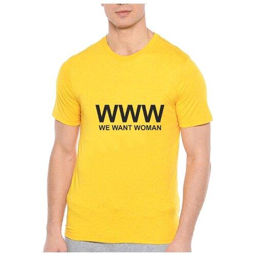 Футболка WWW we want woman. Цвет: желтый. Размер: XL
