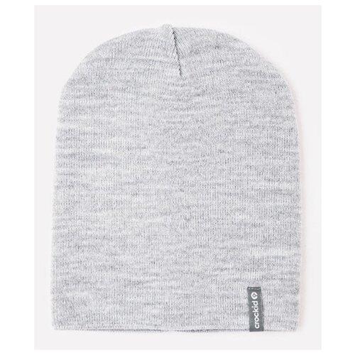 Купить Шапка-бини crockid размер 50-52, светло-серый меланж, Головные уборы