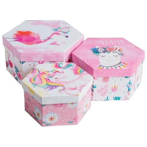 Фото - Набор подарочных коробок Дарите счастье Персонажи, 3 шт. розовый набор подарочных коробок дарите счастье нежность 3 шт розовый