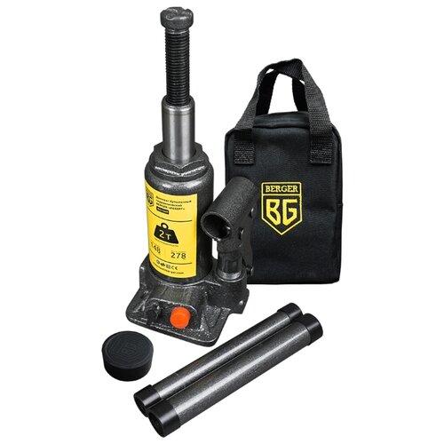 Домкрат бутылочный гидравлический BERGER Реберг BG1269 (2 т) черный/темно-серый