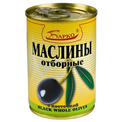БАРКО Маслины с косточкой отборные, жестяная банка 280 гМаслины, оливки, каперсы консервированные<br>