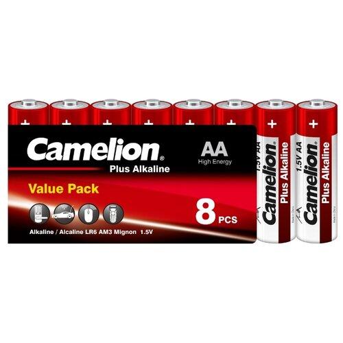 Батарейка Camelion Plus Alkaline AA, 8 шт. батарейка aa camelion alkaline lr6 sp8 plus 8 штук