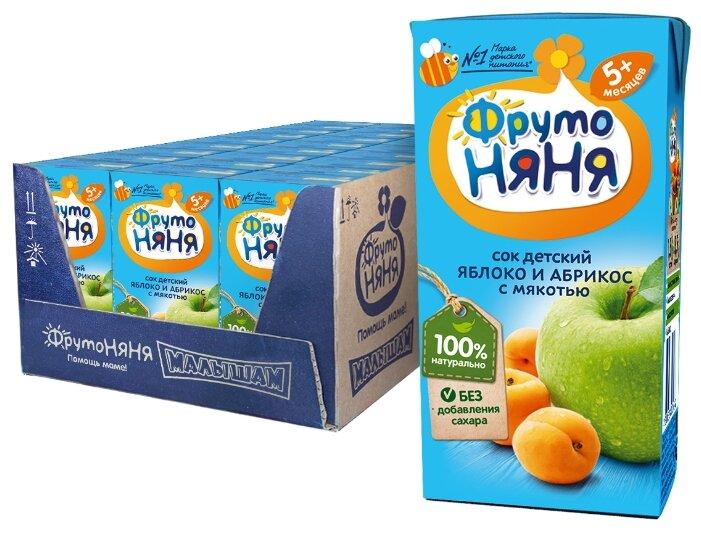 Сок ФрутоНяня из яблок и абрикосов с мякотью, с 5 месяцев (27 шт)