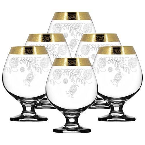 ГУСЬ-ХРУСТАЛЬНЫЙ Набор бокалов для бренди Нежность TAV34-188 6 шт 400 мл прозрачный/золотой гусь хрустальный набор бокалов для бренди лоза tav116 1812 6 шт прозрачный золотой