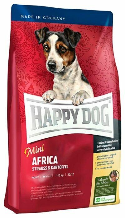 Корм для собак Happy Dog Mini Africa для здоровья кожи и шерсти, страус с картофелем 1 кг (для мелких пород)