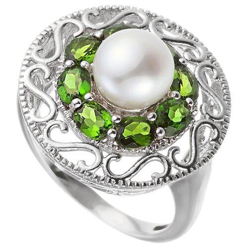 ELEMENT47 Кольцо из серебра 925 пробы с культивированным жемчугом и хромдиопсидом USR857_HD_WW_WG, размер 16.75