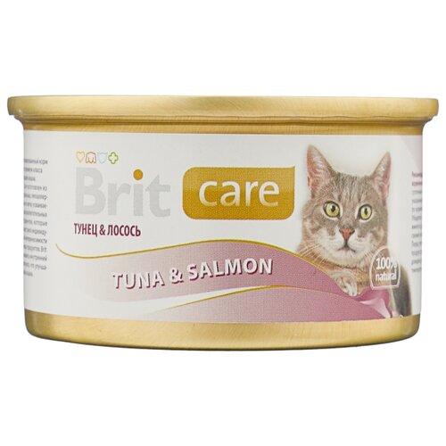 Фото - Корм для кошек Brit Care с лососем, с тунцом 80 г (мини-филе) лакомство для собак brit let s bite fillet o duck филе утки 80 г