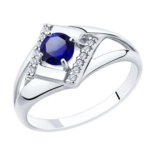 Diamant Кольцо из серебра с корундом и фианитами 94-310-00350-1, размер 17 фото