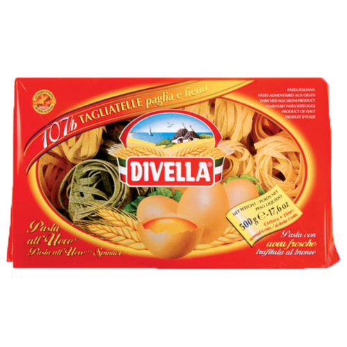 Divella Макароны All Uovo Tagliatelle 107B яичные со шпинатом, 500 г